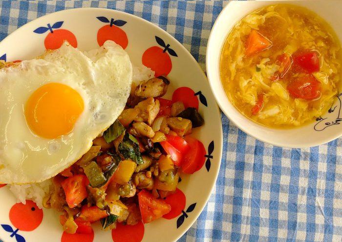 ☆北はるか産フルーツトマト&ガパオライス・卵スープ☆